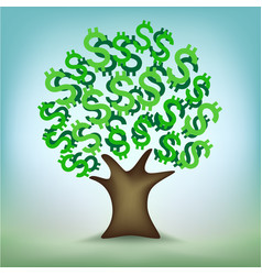 green dollar leaves money tree vector image vector image