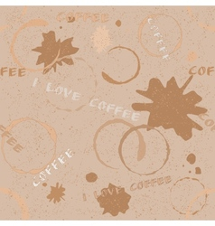 Grunge coffee seamless pattern with text vector image