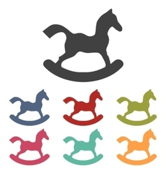 Horse toy icons set vector