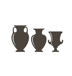 Isolated vases on white background vector image