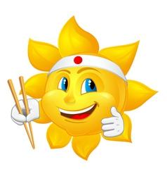 Japan sun with chopsticks vector
