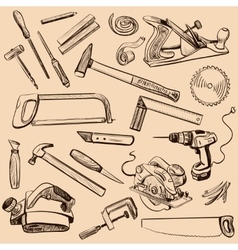 Joinery icons set Carpenter character at work vector image vector image