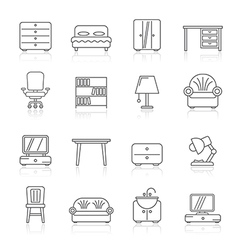 Line furniture and home equipment icons vector