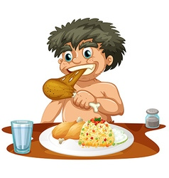 Man eating chicken and rice vector