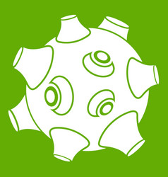 Moon with craters icon green vector