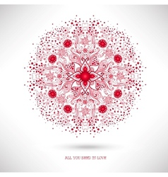 Ornamental round lace patternvalentines day card vector