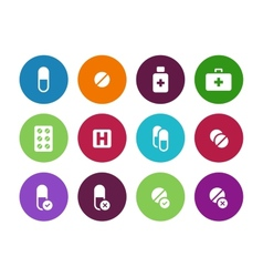 Pills medication circle icons on white background vector image vector image
