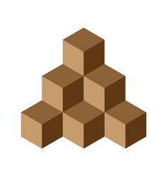 Pyramid of brown chocolate cubes 3d vector
