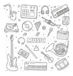 set of a various musical instruments contour vector image