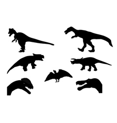 Set of Silhouette Dinosaur Black vector image