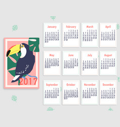 Tropical printable calendar 2017 with toucan vector