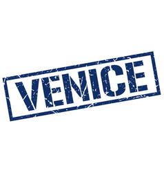 Venice blue square stamp vector