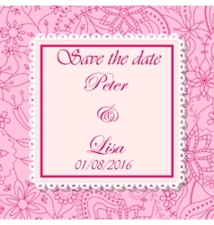Wedding invitation flowers background pink vector image vector image