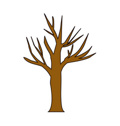 White background with dry tree with thick contour vector