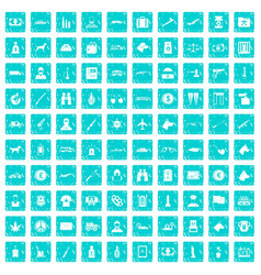 100 smuggling icons set grunge blue vector