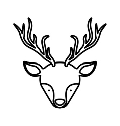Front face silhouette reindeer with horns vector