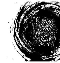 Black and white happy new year hand lettering vector