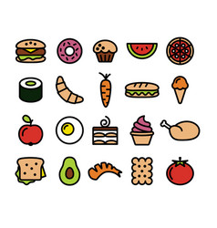 collection of colourful food icons vector image