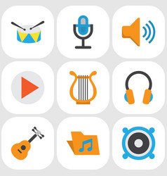 music flat icons set collection of acoustic ear vector image