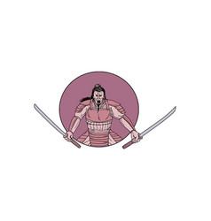 Raging samurai warrior two swords oval drawing vector