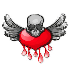 Skull shape from red hearts vector