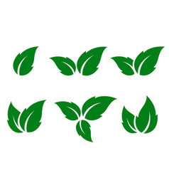 Set of green leaves silhouettes vector