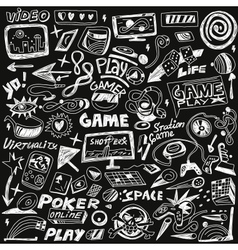 Computers games - doodles set vector