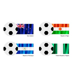 Soccer ball of new zealand niger nicaragua vector