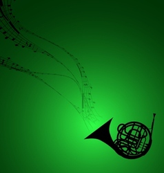 Horn with musical symbols vector