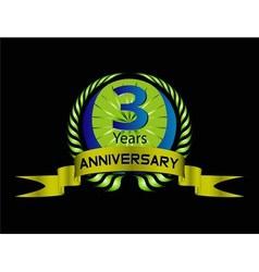 3 years anniversary laurel wreath set vector