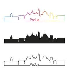 Padua skyline linear style with rainbow vector