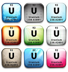An icon showing the element uranium vector