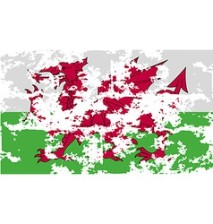 Flag of wales with old texture vector