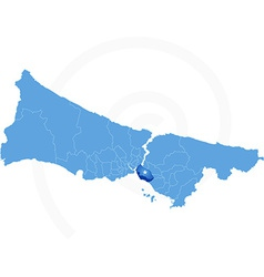 Istanbul map with administrative districts where vector