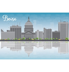 Boise skyline with grey building vector