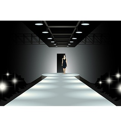 Fashion model walking down the catwalk vector
