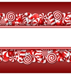 Sweet banner with red and white candies vector