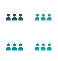 Stylish assembly sticker on paper group people and vector