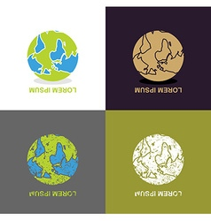 Inverted earth - logo for travel company planet vector