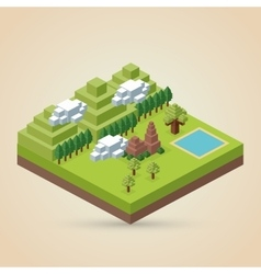 Isometric design nature icon eco concept vector