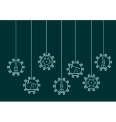 Energy gear shape icons hanging vector