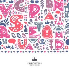 Alphabet funny letters background vector