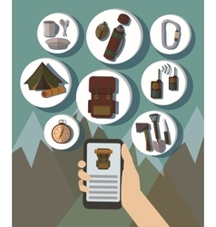 Hand and mobile phone online booking icons hotel vector