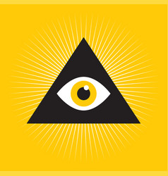 All seeing eye inside triangle pyramid vector