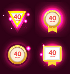 Anniversary 40 icons set vector