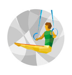 Artistic gymnastics - athlete on rings vector