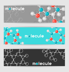 Banners with molecular structure abstract vector