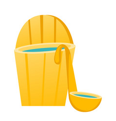 bath barrel with ladle cartoon vector image