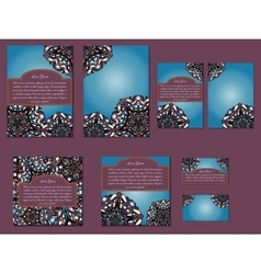 Blue and dark red set of brochures invitations vector