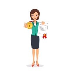 Business woman holding golden medal and vector image vector image